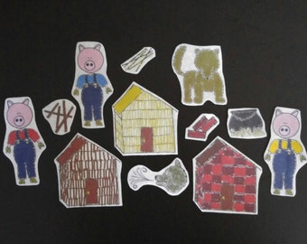 Three Little Pigs Flannel Board Felt Story: A Lesson in Working Hard