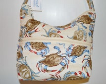 Quilted Fabric Handbag Hobo Slouch Purse with Beautiful Blue Crabs