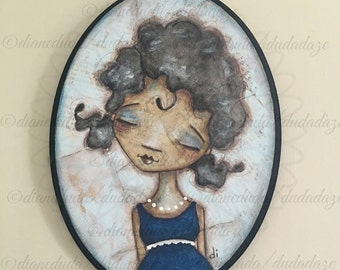 Original Folk Art Mixed Media Portrait Painting - Beautiful in Blue - Free U. S. shipping