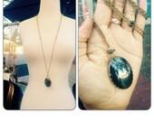 Hematite Oval Brass Necklace - Long Geometric Brass and Gem Statement Necklace - Geometric Jewelry Necklace - Grounding Healing Crystal Gem