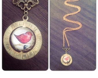 Red Bird Spinner Necklace//Bird on a Branch - Solid Brass chain  - Spinner - vintage style gift idea under 40 - under 50 free shipping