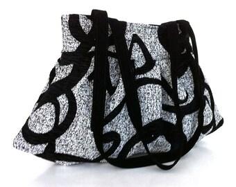 Shoulderbag Black and off white Shoulder tote bag Large day bag Office bag Casual shoulder purse Mom gift  Work tote bag  Large shoulder bag