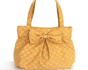 Fabric purse with bow , women handmade handbag , ,top handle bag , bow purse , vegan fabric bag , yellow day bag , bow purse , bow handbag