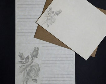 The Rose, social stationery set, letter writing set, pen pal letters, 30 pieces, lined or unlined, parchment paper, snail mail, letters