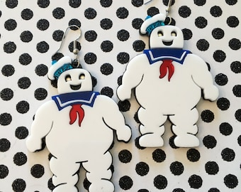 Stay Puft Marshmallow Man Laser Cut Acrylic Earrings