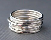 Sterling Silver Ring Stack , Sterling Silver Rings , Six Hammered Rings