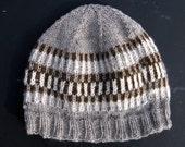 Winter Fair Isle Hand Knit hat for Men or Women, Alpaca / Wool Hat Knit with my Farm Yarn, Knit Beanie, Winter Hat