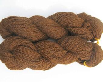 Overdyed Brown Wool and Alpaca Yarn - Farm Grown, Mill Spun - 250 yards - DK Weight for Knitting, Crochet, Weaving, Felting