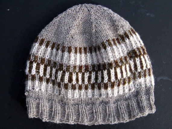 Fair Isle Hand Knit hat for Men or Women by NorthStarAlpacas