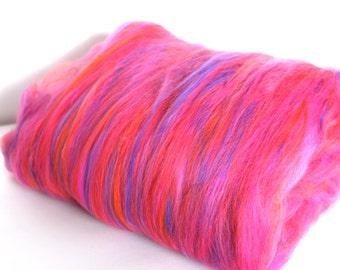 Carded Batt Merino Wool Day-Glo Fine Merino 21micron Hand Spinning and Felting Fibre 50g 100g