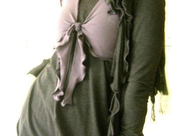 TIED DEMI  women| cropped shirt| crop top| half top| half shirt| grey shirt| grey top| stretchy fabric| handmade| soft | custom clothes