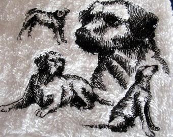 Labador  On White Bath Hand Towel Machine Embroidery