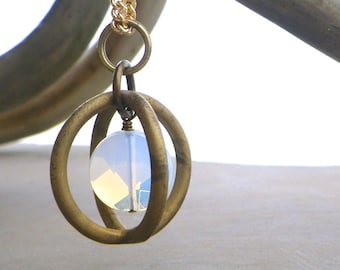 moonstone cage orb pendant necklace, bohemian chic jewelry