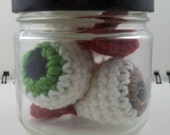 Jar of Crocheted Eyeballs in Green, Brown, and Gray (SWG-EY004)