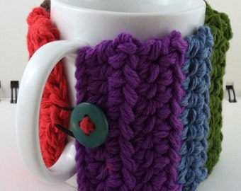 Multi-Colored Striped Coffee or Ice Cream Cozy with Pocket in Cotton with Matching Button (SWG-E01)