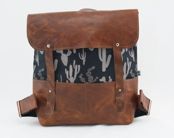 Joey Canvas and Leather Backpack in Cactus Print