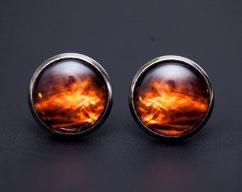 Nebula no. 09 Stud Post Earrings, Space Jewelry, Space Necklace, Wearable Art, Nebula Jewelry, Galaxy Jewelry, Cosmic Jewelry