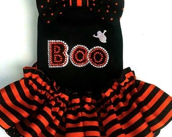 Halloween dog dress  or a tee with a crystal BOO and a ghost, beagle, ckcspaniel, cocker spaniel, yorkie pomeranian