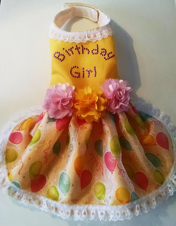 Dog Clothes dress Birthday Girl in yellow with balloons and satin flowers