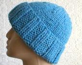 Watch cap in sky, medium, blue, men's hat, knit hat, women's hat, brimmed beanie, winter hat, ski, snowboard, knit cap, biker cap, chemo cap