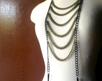 Bronze Spine Chain Breastplate Necklace / Edgy Bohemian Burner Jewelry / Festival Accessories / Burner Jewelry / Ladder Necklace