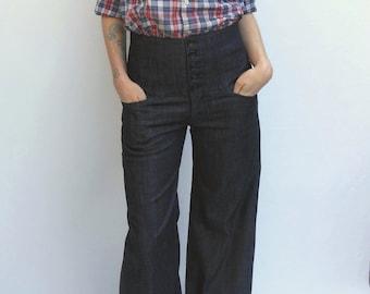 SALE, High Waist Trouser Jeans in Dark Denim