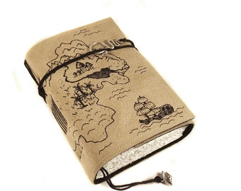 Handmade Leather Journal, Treasure Map, Painted Suede