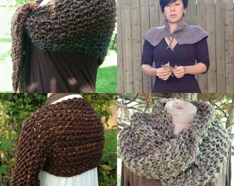 4 Pattern DEAL PDF Knitting Patterns for Woodland Shawl Highlands Capelet Bulky Cowl and Garden Shrug