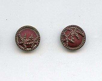 """Victorian RED FABRIC Buttons Set of (4) Antique Metal Perfume Tint Brass 5/8"""" size 2468"""