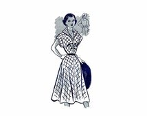 1940s Ladies Dress Anne Adams 4687 Vintage Sewing Pattern Full Figure Size 18 Bust 36 FACTORY FOLDED