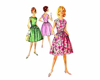 1960s Sleeveless Wrap Around Dress Simplicity 4986 Vintage Sewing Pattern Full Figure Size 16 Bust 36 Uncut