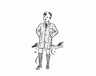 1930s Boys Suit Jacket Trousers Shorts Womans World 5439 Vintage Sewing Pattern Size 8 Chest 26 Factory Folded