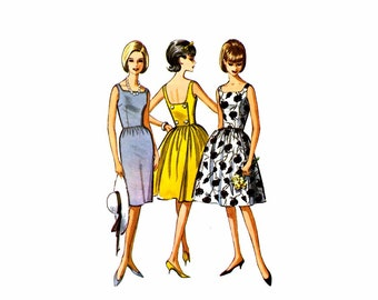 1960s Back Wrapped Slim or Full Skirt Dress McCalls 7248 Vintage Sewing Pattern Size 14 Bust 34 UNCUT