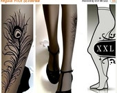 SALE25%off/// xxl sexy PEACOCK FEATHER Tattoo  tights / stockings full length pantyhose grey