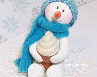Not hot chocolate, ice cream please. Snowman ornament or table top decoration in blue and white