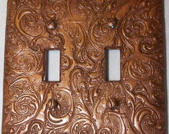 Metallic Rust Curls and Swirls double toggle light switch cover