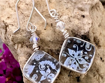 Dichroic Glass Earrings Translucent Silver Wire-Wrapped with Sterling Hooks