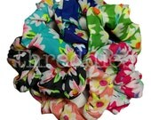 Floral scrunchie set // set of 6 flower chiffon scrunchies - 80s and 90s style - smaller size