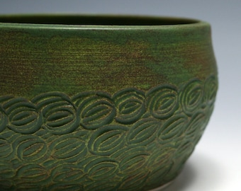 Small Pine Green Bowl with Hand Carved Design