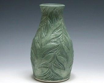 Sage Green Vase with Carved Branch Design