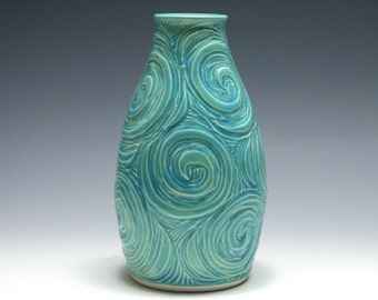Pale Turquoise Vase with Spiral Carving