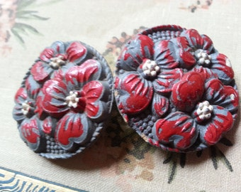 Carved Dogwood Flowers, Two, Large, Vintage Buttons. Pressed Wood.