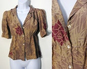 Vintage Repurposed Silk Top - XS/S