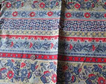 NOS Vintage WAMSUTTA Cotton Fabric Yardage Boho Folkloric Floral