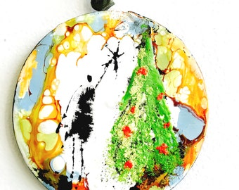 Original Hand Painted Encaustic Abstract Figural Christmas Holiday Mixed Media Art Ornament