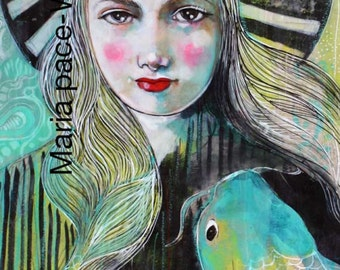 Trust Yourself To The Water- Original mixed media/encaustic painting by Maria Pace-Wynters