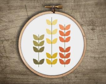 modern cross stitch pattern ++ vintage flower boho craft ++ pdf INsTAnT DOwNLoAD ++ diy ++ hipster ++ handmade design