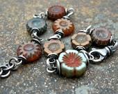 flower bracelet, fall equinox flower bracelet, czech glass bead bracelet, orange flower bracelet