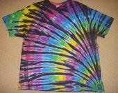 2X tie dye t-shirt, rainbow fan and black, 2XL