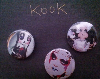 a variety kook teflon buttons dolls paintings portraits